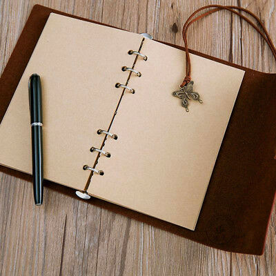80 Sheets Travel Notebook Refill Inner A6 Paper Pages Vintage Retro Kraft Paper