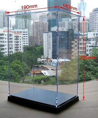 Clear Acrylic Display Case Transparent Plexiglass Dustproof Box 26.5x19x14cm