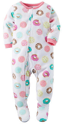 NWT ☀FOOTED FLEECE☀ CARTERS Girls Pajamas DONUTS  New  24m  2T 3T 5T