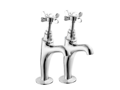 Kitchen Sink Tap Set Chrome Plated Coronation 1 Pr Pillars Deva Taps Cr27A