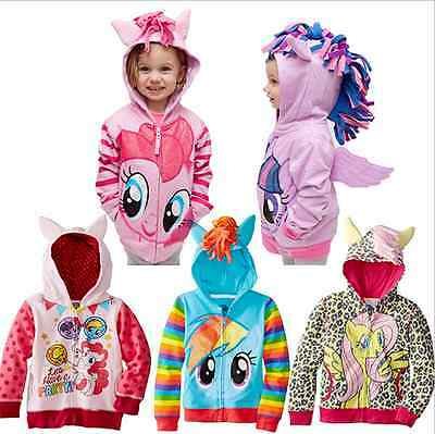 Baby Girls My Little Pony Hoodie Zip Up Jacket Jumper Ear Mane Wing Size 0-8Y