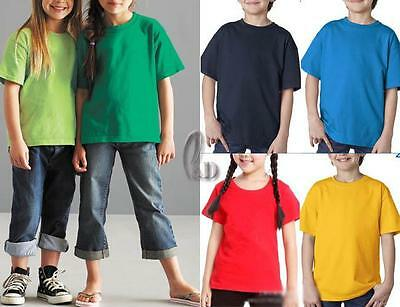 AU SELLER Kids Unisex 100% Cotton Plain Basic Short Sleeve T-Shirt Top Tee kt001