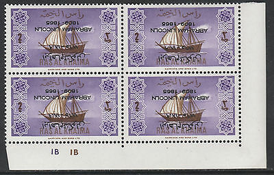 Ras Al Khaima 2553 - 1965 Ships plate block with ABRAHAM LINCOLN opt INVERTED