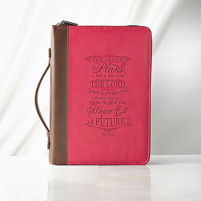 For I Know the Plans Bible Cover, Lux-Leather, Pink, Large
