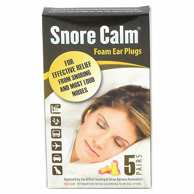 Snore Calm Foam Ear Plugs (5 Pairs) Earplugs 35db NRR