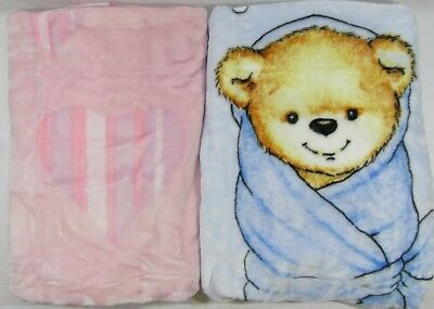 Baby Babies Clothes Unisex White Pink Blue Cream Mink Blanket Spanish Style