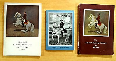 3 Books LIPIZZANER HORSES Spanish Riding School of Vienna Podhajsky 1947 1958