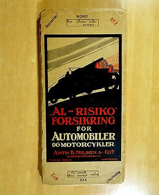 1922 Linen Backed Map No.2 AUTOMOBILE & MOTORCYCLE Nilson Kristiania Norway NORD