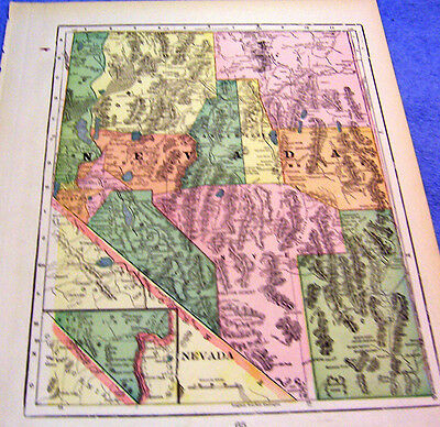 Antique Map Of Nevada  W/ Shoshone Indian Reserve    Beautifully Colored   1901