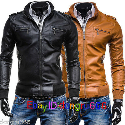 New Men's fashion Stand Collar Slim motorcycle leather jacket coat outwear