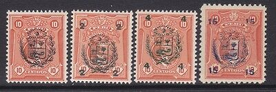 Peru 268-71 MNH OG 1930 Numerals Surcharged Full Set Very Fine
