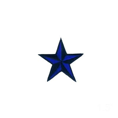 22037 Solid Blue Star Cutout Nautical Punk Sailor Embroidered Sew Iron On Patch