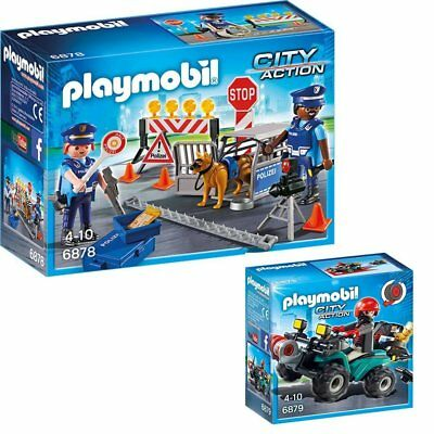 PLAYMOBIL City Action Polizei Set Straßensperre 6878 Ganoven-Quad 6879 NEU