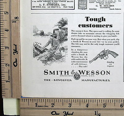 1930 SMITH & WESSON revolvers TOUGH CUSTOMERS safe camp Print Magazine Ad 8826