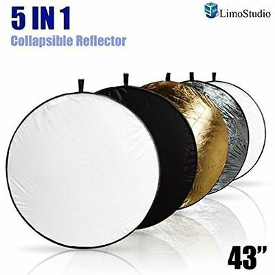 """LimoStudio Portable MultiDisc Photography 43""""Reflector 5in1 Circular Collapsible"""