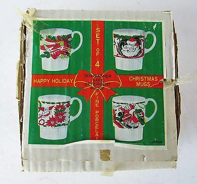 Vintage Stacking Christmas Mugs Cups set of Four with Box