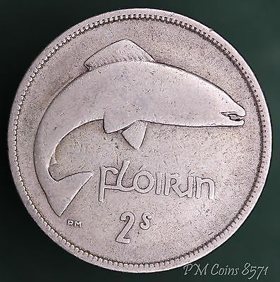 1928 Post-1920 Irish Ireland florin/ two shillings EIRE Silver 750 coin *[8571]