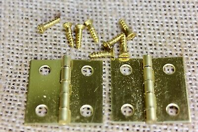 "2 Cabinet door hinges CLASSIC brass screws 1 x 1"" jewelry box vintage STANLEY"
