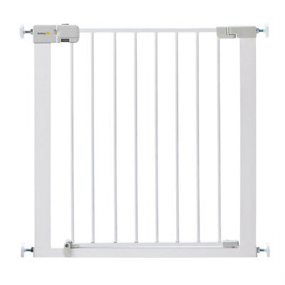 Child Safety Gate Toddler Baby Security White Metal Nursery Stair Guard