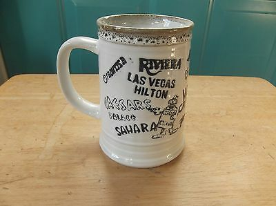 Vintage Handled Pottery Mug Advertising Las Vegas Hotels