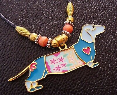 Doxie DASHSHUND DOG Jewelry Pendant - Art Deco look - Sausage Weiner Puppy Pup