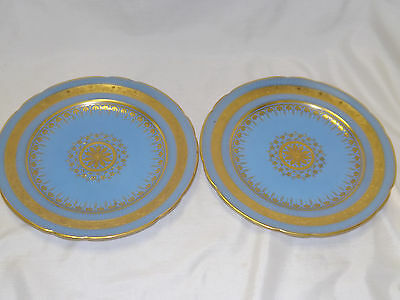 Vintage Minton China 2 Luncheon Plates Heavy Gold Embossed Medallion Blue