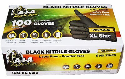 100 Large Black Nitrile Gloves - Full Textured - Latex And Powder Free -6 Mil