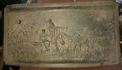 Antique Cast Iron Fireplace cover Summer Surround Victorian Fire Place Ox Wagon