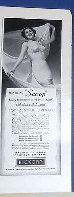 "1937 Hickory ""Scoop"" one-piece Lastex foundation BRA/GIRDLE photo Ad"