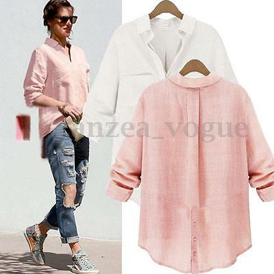 Women Autumn Button Down Loose Casual T-Shirt Blouse OL V-Neck Cotton Top Plus
