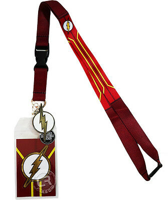DC Comics The Flash Suit Up Lanyard Sticker ID Badge Holder Metal Charm Official