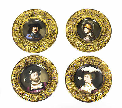 Antique Set 4 Dresden Porcelain Ormolu Mounted Wall Plaques