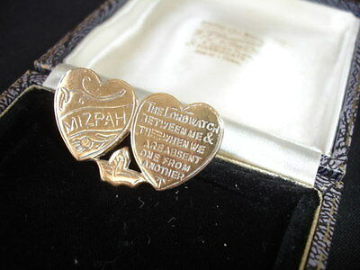Vintage 1940s 1950s two love hearts Mizpah with thistle & verse brooch shawl pin