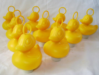 NEW 10 YELLOW DUCKS WITH HOOK AND WEIGHT - PERFECT FOR HOOK-A-DUCK GAMES! 8cm HB
