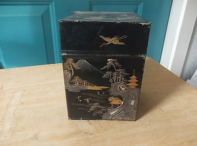 Black Decorated Tin Flip Top Container Made in Japan