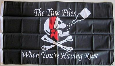The Time Flies When You're Having Rum Flag Pirate Flag