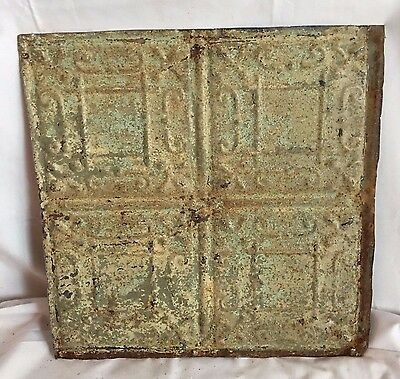 1890's 12 x 12 Antique Tin Ceiling Tile Reclaimed 155-17 Green Anniversary Metal