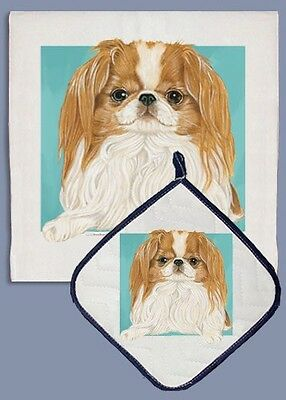 Dish Towel & Pot Holder - Sable & White Japanese Chin DP710C IN STOCK