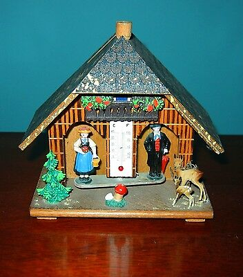 Vintage West German Wooden Weather House Bank w/ Wooden Knob & Two Deer