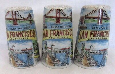 Vtg ANCO Made in Japan, Salt & Pepper Shakers, SAN FRANCISCO Souvenir Set 2+1