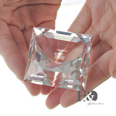 Square Crystal Glass Diamond Paperweight Decorative Wedding Party Gifts with Box