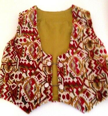 VTG 60s Ikat Kilim Style Boho Needlepoint Vest w/ Chain Link Button Closures Med