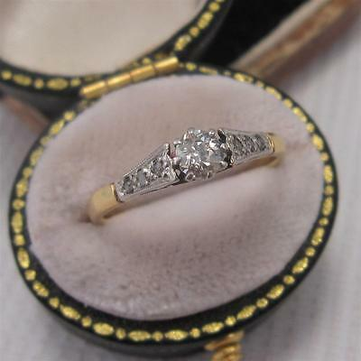 ANTIQUE ART DECO PERIOD DIAMOND SOLITAIRE RING in 18ct GOLD and PLATINUM size L