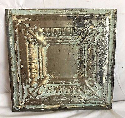 1890's 12 x 12 Antique Tin Ceiling Tile Reclaimed 170-17 Verdigris Anniversary