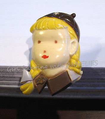 1940s Brownie Girl Scout Figural Lapel Pin, Braids Bows REDUCED PRICE Leaders