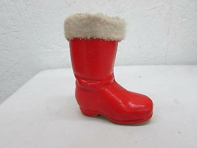 Antique German Christmas Composition Cotton Santa Boot Candy Container