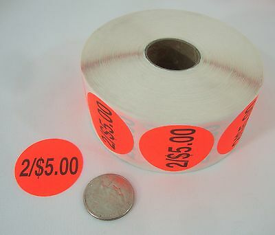 "1000 Self-Adhesive 2/$5.00 Labels 1 3/8"" Stickers / Tags Retail Store Supplies"