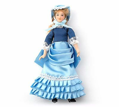 1/12Th  Dolls House  Victorian Lady In Blue Satin Dress And Bonnet