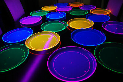 Assorted Neon Blacklight Reactive 10.25 Inch Plastic Party Plates - 20 pack