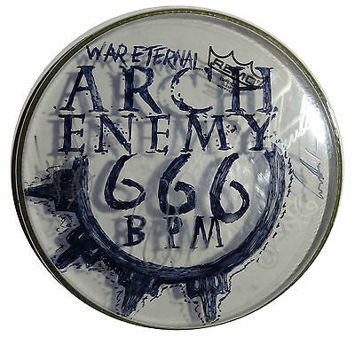 Signed Arch Enemy Autographed Original Art Concert Used Drumhead W/pics